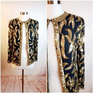 Black and Gold Sequined Cocktail Jacket